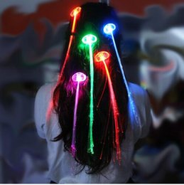 $enCountryForm.capitalKeyWord Australia - FREE shipping by DHL Flash Night Lights Braid Luminous Light Up LED Hair Extension Party Hair Glow by fiber