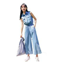 337ab1e883a Summer sleeveless denim jumpsuit female 2018 overalls Casual loose elastic waist  pants wide leg pants playsuit