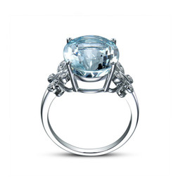 Blue Zircon Band UK - Butterfly Ring 18K white gold Plated Zircon Crystal Sea Blue Gemstone Ring High-end Fashion Jewelry European American Women Gift Jewelry