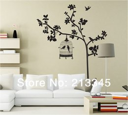 birdcage cage NZ - [Fundecor] large size removable home wall deco plants trees birdcage bird cage wall sticker mural black decal 6351