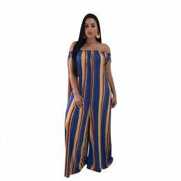 542e882c533f3 Women summer jumpsuit slash neck striped print wide leg pants full length  casual body mujer overalls boho