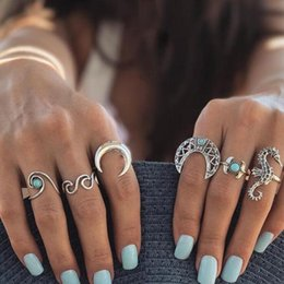 Hollow Fingers NZ - 2018 docona Bohemian Silver Moon Sea Horse Finger Ring Set for Women Green Rhinestone Hollow Wave Knuckle Midi Rings 6pcs 1set 4023