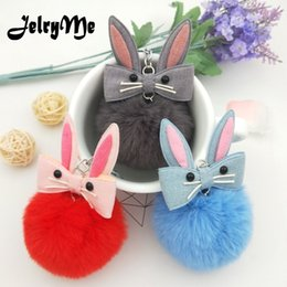 Artificial Chains Wholesalers Australia - Cute Rabbit Keychain Pompon Artificial Fluffy Bunny Fur Ball Pom Pom Keyring Women Bag Car Key Chains For Girl porte clef Holder