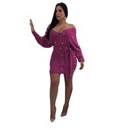 De haute qualité 4 Couleurs Perles Off épaule Moulante Robe Femmes Wrap V Cou Backless Manches Longues Mini Club Party Dress Casual Robes Robes