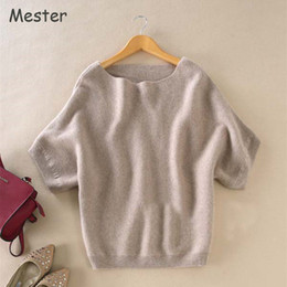 Discount short sleeve cashmere jumper - 2017 Women Boat Slash Neck Short Sleeve Cashmere Sweater Fashion Solid Colors Loose Batwing Wool Sweaters Jumper Tops Sp