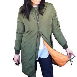 $enCountryForm.capitalKeyWord Australia - 2018 Spring Army Green Long Bomber Jacket Women Basic Coats Female Jacket Windbreaker Padded Zipper Outerwear