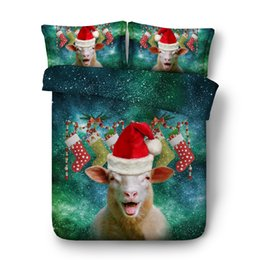 cotton super king bedding set UK - Free shipping cartoon Christmas Day Santa Claus bedding set 1 duvet cover&2 pillow cases twin full queen king super king size
