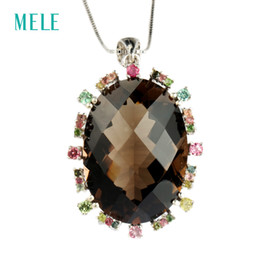 picture lockets pendant UK - MELE Natural smoky quarts silver pendant, big oval 20mm*28mm, bright colorful tourmaline , more beautiful than pictures