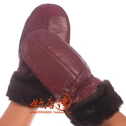 4fff8dd8f8999 Woman autumn plus velvet solid thick 100% sheepskin Gloves female winter  warm 100% leather fold Mittens lady sheepskin glove