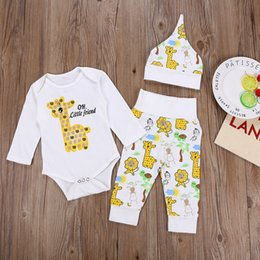 baby animal romper suits NZ - 2018 Newborn Baby Cartoon Sets Infant Toddlers Animal Printing Romper+Long Pants+Hat 3pcs Baby suits Kids Boutiques Clothing Free Shipping