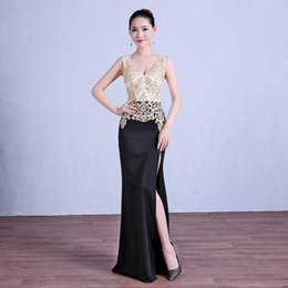 985916eded0 Diamonds Embroidery V-Neck 2018 New Women s Elegant Long Gown Party Prom  For Gratuating Date Ceremony Gala Evening Dresses A23