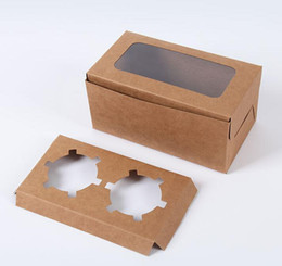 Wholesale Boxes Packaging Australia - DHL kraft Card Paper Cupcake Box 2 Cup Cake Holders Muffin Cake Boxes Dessert Portable Package Box Tray Gift Favor 16*9*7.5cm