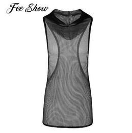 b8f26a4377d58 Black Mens Fishnet See-through Stretchy Hooded Vest Tank Top Men s Clubwear  Undershirt Sleeveless Mesh Openwork Hooded Tank Tops