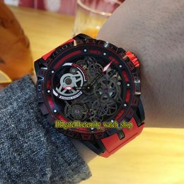 luxury watches red dial NZ - Luxury New Excalibur 46 RDDBEX0617 Skeleton Dial Double Tourbillon Japan Miyota Automatic Mens Watch Black Red Case Rubber Strap Watches