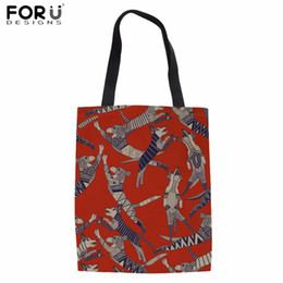 $enCountryForm.capitalKeyWord NZ - FORUDESIGNS Canvas Tote Bag Dog Party Retro Print Linen Shopping Bag for Women Teenager Girls Daily Cotton Fashion Eco Bolsa