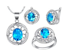 wheel sets china UK - Women's fashion 2018 Jewelry set 18K platinum plated Hollow wheel pendent necklace earrings ring set blue crystal jewelry cz accessory 1set