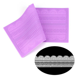 cake lace moulds UK - 39.5 * 20 cm Silicone Mold Cake Lace Mat Baking Pastry Tools Wedding Cake Sugar Lace Mould Fondant Cake Decoration Silicone Mat