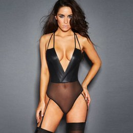 $enCountryForm.capitalKeyWord Australia - Club Sexy costumes bodysuit Black exotic patent leather sexy jumpsuit sleeveless Pole dancing clothes sexy catsuit