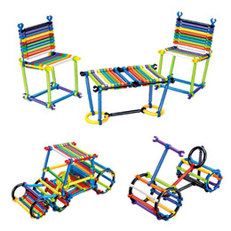 Discount magic block puzzles - Wholesale 1000 PCS Kids Puzzle Toys for Children Stick Building Plastic Rod Magic DIY Educational Toys Improve Creativit