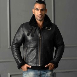 $enCountryForm.capitalKeyWord Australia - Black AVIREXFLY genuine leather jackets with lamb fur collar Oil wax Flocking sheepskin Men double face fur motorcycle jackets