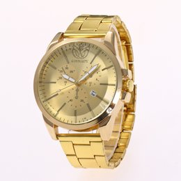 Famous Brand Watches For Men NZ - Wholesale Golden Watch Alloy Watch For Men Stainless Steel Luxury Casual Wristwatch Famous Brand Quartz Watch