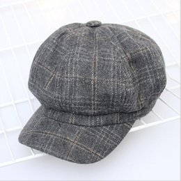 622262381a8ee 2018 Women Plaid Wool Hat Fashion Artist Painter Octagonal Cap Autumn  Winter Warm Beret Hat Newsboy Caps Casquette