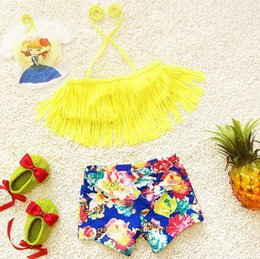 Floral two piece short set online shopping - Cute Baby Girls tassels Bikini Pieces Swimwear Sets hot sell baby girls bathsuit floral girl s beachwear flower shorts