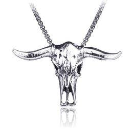 $enCountryForm.capitalKeyWord UK - Jewelry Vintage Style Bull Skull Pendant Titanium Steel Hip hop Style Pendant Necklace for Men 23.5 Inch Curb Chain