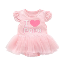 mama girl clothes 2019 - Baby Tutu Clothes Girls Dresses Infant Baby Girl Pink Princess Dresses Kids Summer Bodysuit I Love Papa Mama Clombing Cl
