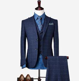 Шерсть жених одежда жених костюмы 2019 скромный Slim Fit мужская деловой костюм куртка + брюки + жилет мужские костюмы свадебные костюмы жених Ebelz