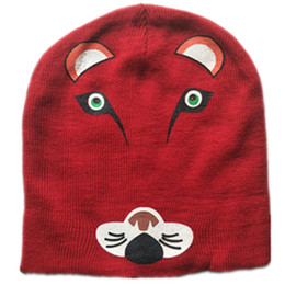 Reversible Beanie NZ - Cartoon Cotton knitting Animals tiger fox cat mouse Caps winter Soft Warm Reversible Double-sided Wear Mask hats Beanies caps