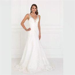18ca09540d4 2018 New Elegant White Lace Mermaid Wedding Dresses Beads V Neck Backless Wedding  Gowns Custom Made Simply Sweep Train Bridal Dresses