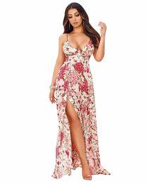 $enCountryForm.capitalKeyWord UK - 2 colors 2018 Summer Style Dresses Floral Print Strap Fork fashion Women Bandage bodycon Casual Sexy Long Maxi Dresses