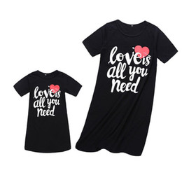 Match Dresses For Mom Daughter UK - Summer Vest Dress For Mother And Daughter Family Matching Outfits Heart Printed Dress Short Sleeve Dress For Mom And Me