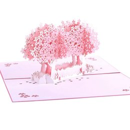 Pink Wedding Invitations 3D Cherry Blossoms Tree Korea Ceremony Cards Customized Folded Buckles Valentines Day