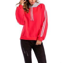 Female Sweatshirt Women Ladies Solid Long Sleeve Casual Loose Large Size  Hooded Sweatshirt Pullover Top Blouse Moletom Feminino cb6cc1933