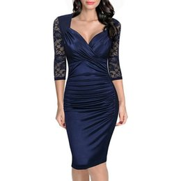 $enCountryForm.capitalKeyWord UK - Autumn Spring womens clothing ruched Half sleeve Deep V Neck Knee Length sexy elegant Cocktail warp dresses ladies gowns office work dresses