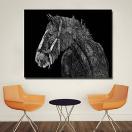 Black White Canvas Wall Prints NZ - 1 Piece Simple Draft Horse Black and White Picture Animal Art For Living Room Home Wall Decoration Poster Printed On Canvas No Framed