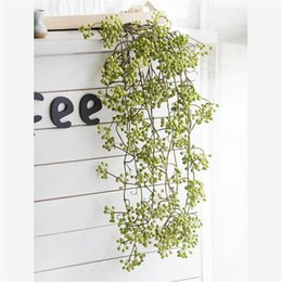 fake vines decoration UK - wholesale Artificial Flower Branch Fake Red Bean Fruit Vine Simulation Plant Flowers Rattan Wedding Home Party Decoration Floral