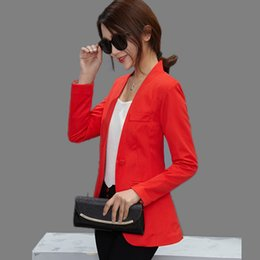 $enCountryForm.capitalKeyWord UK - Women OL Blazers Female Slim Suits Candy Color Coats Long Sleeve One Button Outwears 2018 New Fashion Work Wear Ladies Clothing L18101302