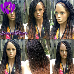 $enCountryForm.capitalKeyWord Australia - Sexy Africa america women style Ombre brown Braided Wigs with baby Hair 180density full lace front twist Wigs synthetic hair
