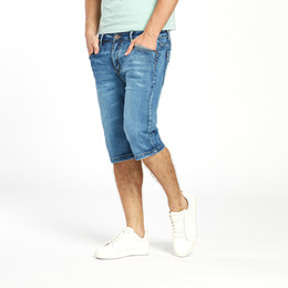 lightweight jeans for summer Canada - Brand Mens Summer Stretch Lightweight Thin Denim Jeans Short For Men Jean Shorts Pants Plus Size 32 33 34 35 36 38 40 42 Wholesale