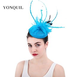 Tea Party Dresses White Canada - Women tea Wedding Fascinator fedora Hat Hair Clip headdress Girl Dress feather Pillbox Hat for dinner Party lady Hair Accessories SYF308