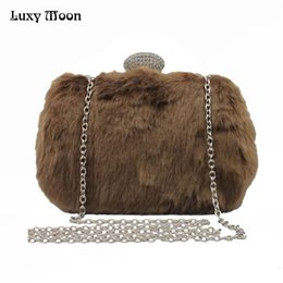 $enCountryForm.capitalKeyWord Canada - Luxy Moon Evening Bags Faux Fur Diamond Beaded Winter Clutch Purse for Ladies Wedding Party Wallet Shoulder Bag Handbags ZD818
