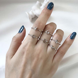 Opal Sapphire Ring NZ - kendra scott English alphabet original design 925 sterling silver ring Japan and South Korea female hand-wrapped ring tail ring