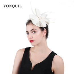 $enCountryForm.capitalKeyWord Australia - 2018 Classic Hot pink ivory feather women hair clips fascinator pillbox hats ladies wedding loops headwear fashion married caps SYF428
