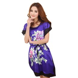 Sexy Summer Clothing Sleeping UK - Women Summer Autumn Sleep Dresses Sleepwear Round Neck Printed Nightgowns Clothes