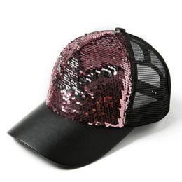 2018 New Women Ponytail Baseball Cap Sequins Casual Shiny Messy Bun Snapback  Hats Sun Caps 457d2ed16344
