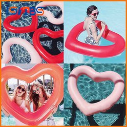 toys boats NZ - Inflatable Heart-shaped Circle Air Mattress Swimming Pool Float Swim Ring Seat Boat Raft Summer Water Fun Pool Toys