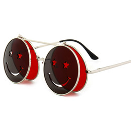 Funny sunglasses online shopping - 2018 Round Flip Up Sunglasses for Men Vintage Steampunk Metal Frame Red Yellow Clip on Funny Sun Glasses for Women Uv400